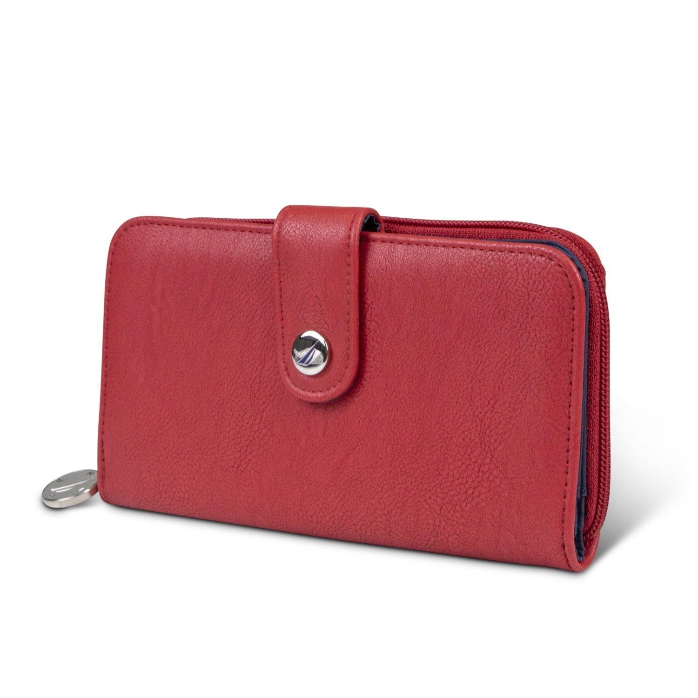 914f1ddcdb8c Nautica Be Shore Womens Wallet RFID Blocking Zip Around Clutch (Fuego Red)