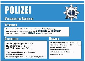 Einladungskarten Party Polizei Einladung Geburtstagseinladung  18 30 40 50 60