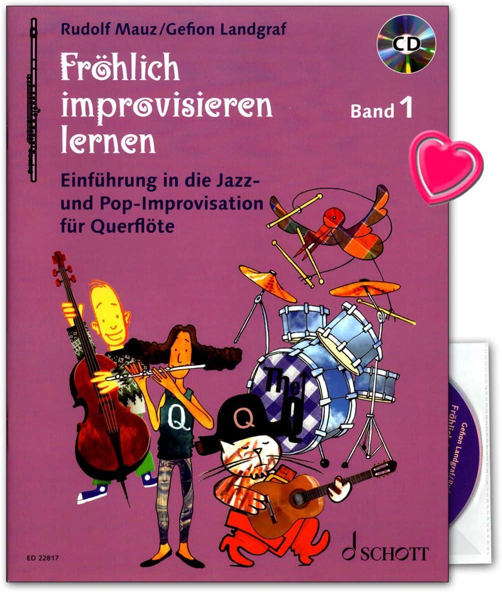 Aprendizaje alegre improvisar banda 1 – Introducción en jazz y pop de improvisación – libro de aprendizaje para flauta travesera con CD y pinza para partituras ...