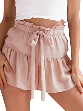 abe92e601d1e38 Terryfy Damen Sommer Shorts Ruffle Vintage Linen Baumwoll High Waist Strand Kurze  Hose Rosa