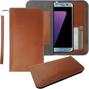 HP Elite x3 Leather Pouch, HJ Power[TM] for HP Elite x3 (Verizon)-FW2 Leather PU Wallet Pouch Brown