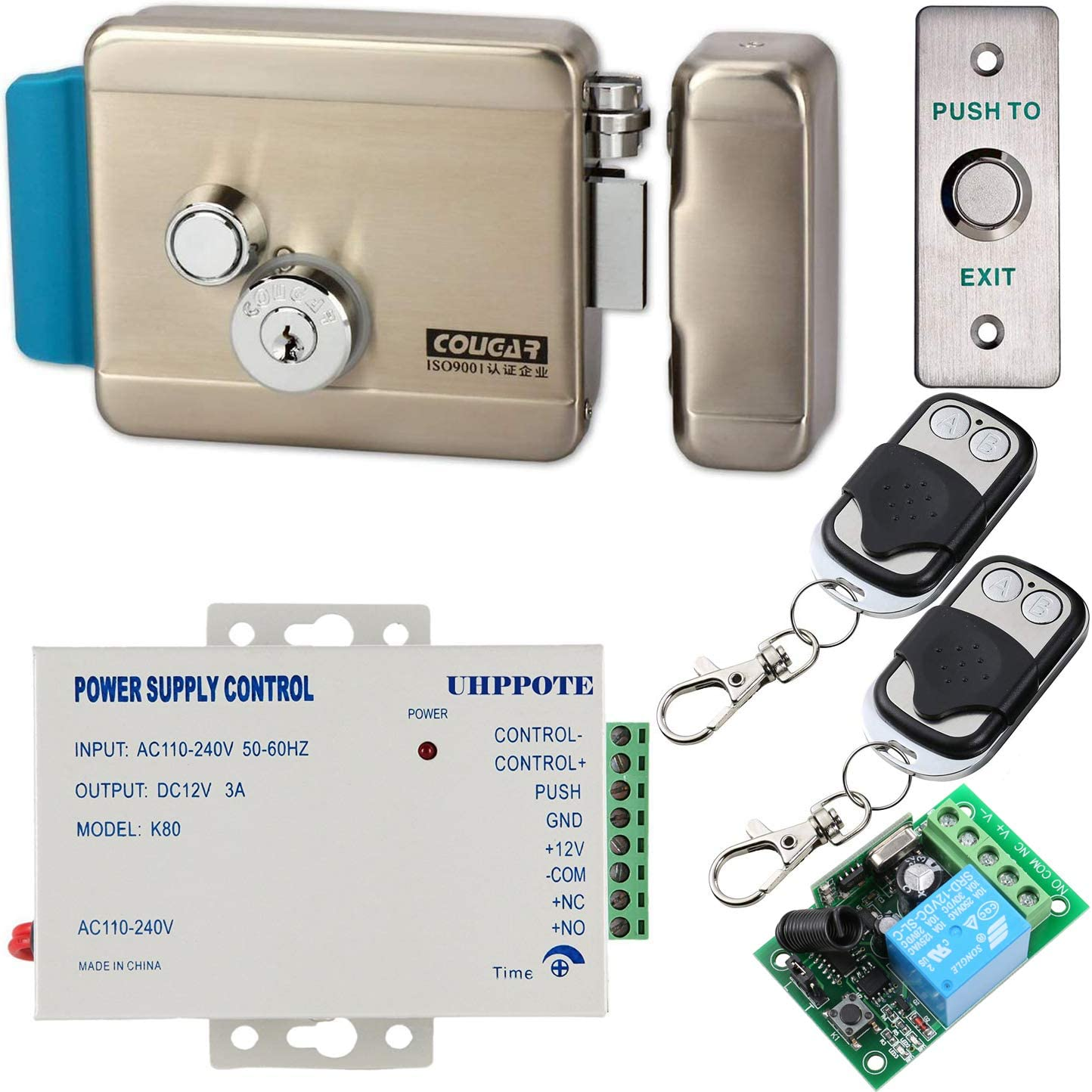 UHPPOTE Electric Door Lock with Wireless Remote Control for Intercom Access Control System