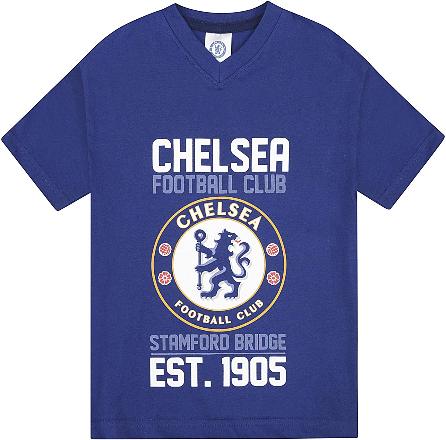 Chelsea Pyjamas Boys Official Short Football PJ Set Gift Ages 5 To 13 Years