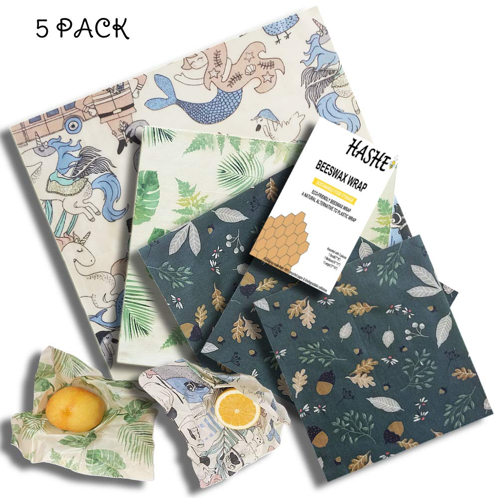 Hashe-Bee Beeswax Wraps 5 In 1 Assorted Pack Unique Design, Lunch Pack Food Cover Storage, Reusable Washable