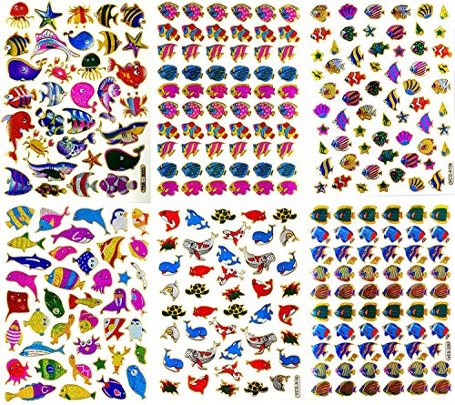 f Scrapbook Fish Stickers, Fish Scrapbook Stickers, Small Fish Stickers, Reflective Stickers - Animal Stickers for Kids - Size 4 X 5.25