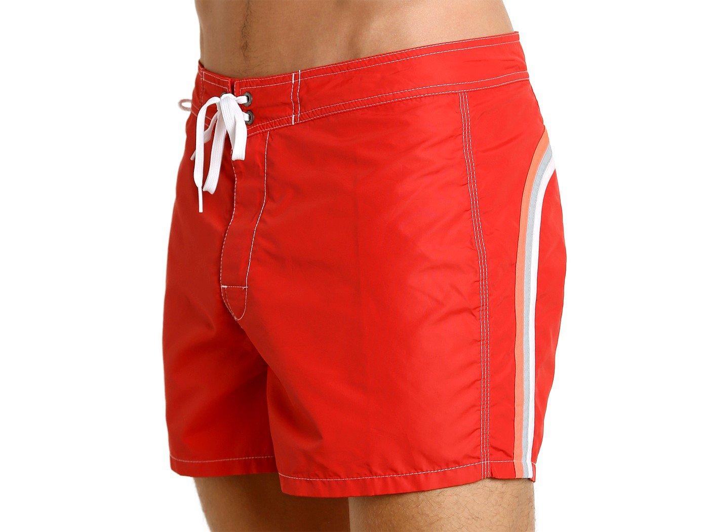 SUNDEK Men's Boardshort With Rainbow -Low Rise 14'' 34 FIRE RED #2-449