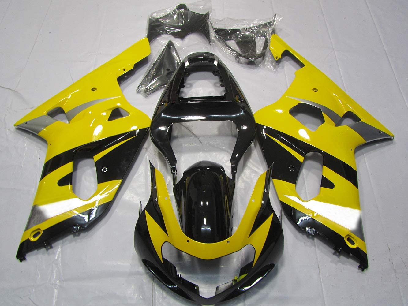 Yellow Silver Black Complete Painted injection ABS plastic body kit fairing suit for 2001-2003 Suzuki GSXR 600 750