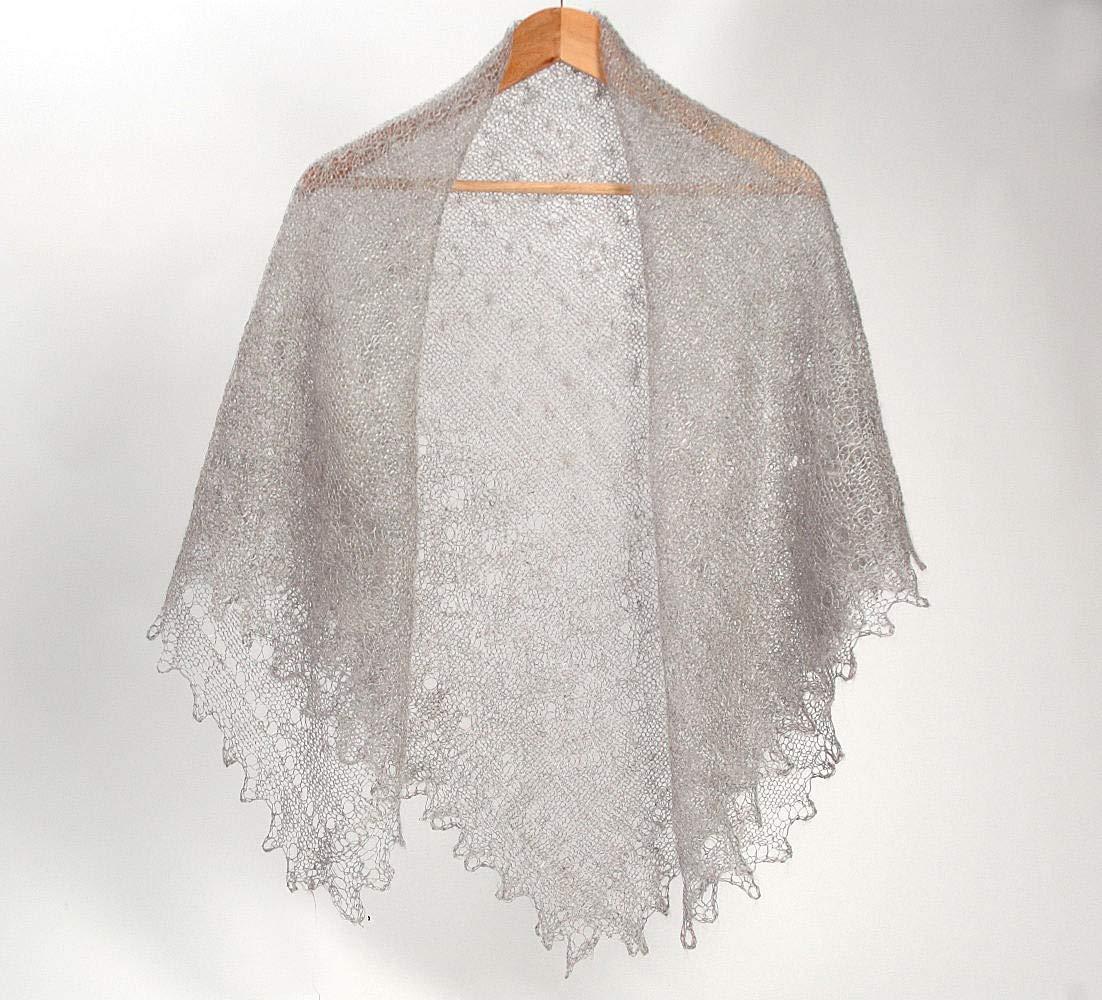Orenburg gray shawl, down-hair knitting, Orenburg Shawl, warm gossamer shawls