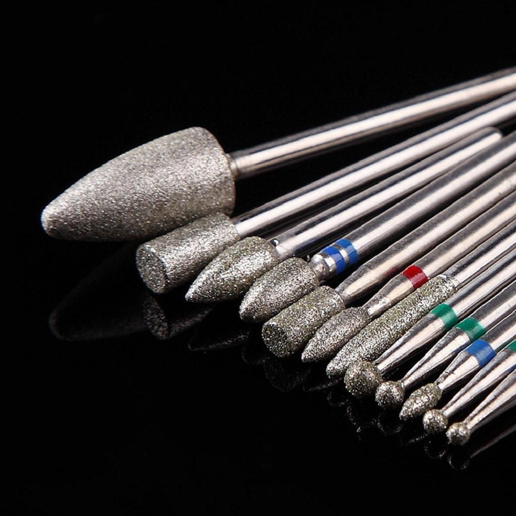 12 pcs Nail Drill Bit Jaminy Nail Grinding Head Nail Drill Bit Tool for Nail Art Polish Machine