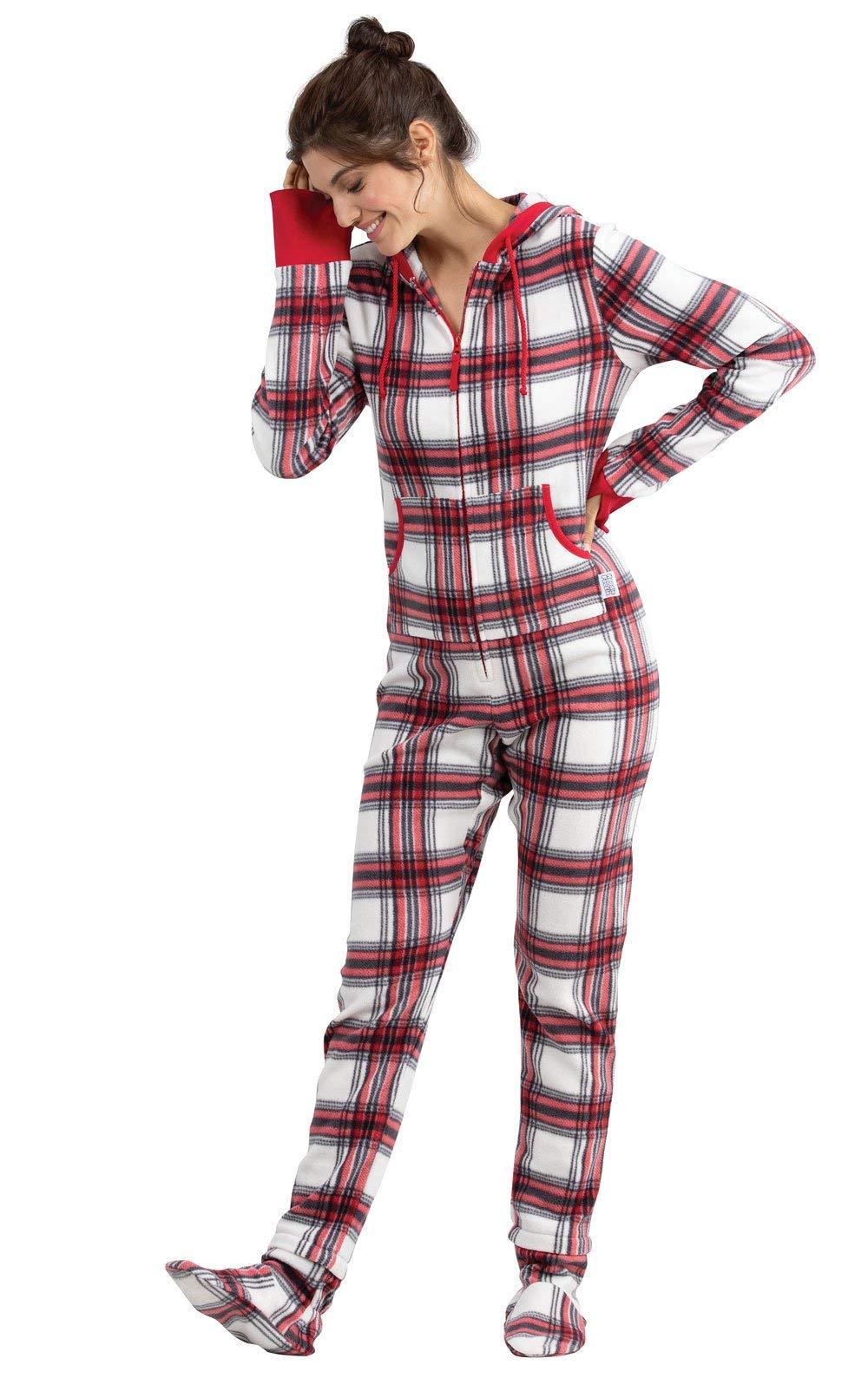 PajamaGram Women s Hoodie-Footie Fleece Onesie Pajamas 5c6df611a7