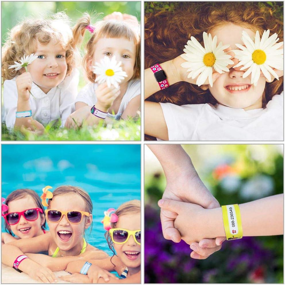 Bracelet durgence pour Enfant R/églable Bracelet de S/écurit/é Enfants Imperm/éable pour Gar/çons Filles B/éb/é TANCUDER 12 pcs Bracelet Identification Enfant avec 1 pcs Stylo