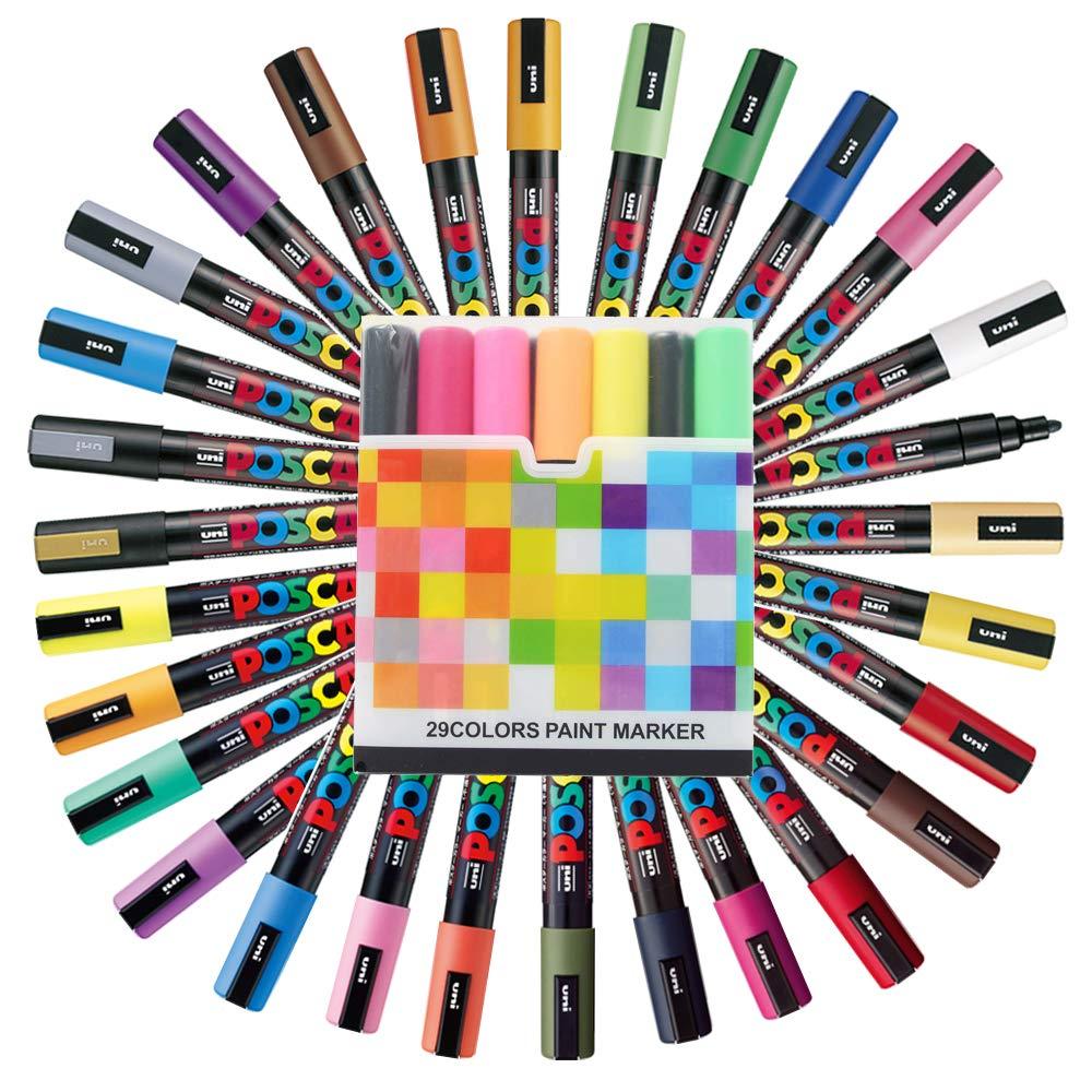 Uni Posca Paint Marker FULL RANGE Set , Mitsubishi ALL Natural & Dark , Gold & Silver Pen Medium Point 29 Color (PC-5M), Original Plastic Box by Uni Posca (Image #1)