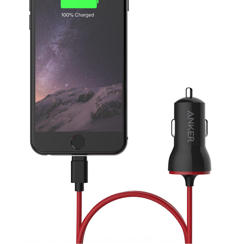 Anker PowerDrive 12W Auto Ladeger/ät mit Kabel und Lightning Stecker iPad Air und weitere Apple MFi Zertifiziert Kfz Ladeger/ät f/ür iPhone 8//8 Plus//iPhone X // 7 // 6s // SE Schwarz