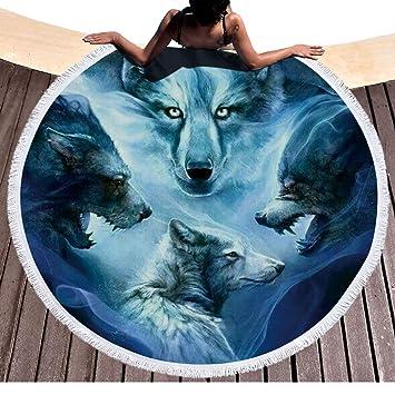 Étnico Nieve Lobo redondas Toalla con borlas Micro Fiber Tribu Animales Lobo playa redondas Topo Franse