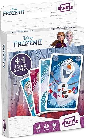 Oferta amazon: Juego de Cartas Shuffle Fun Frozen II - Baraja de Cartas con 4 Juegos de Snap, Familias, Parejas y Juego de Acción