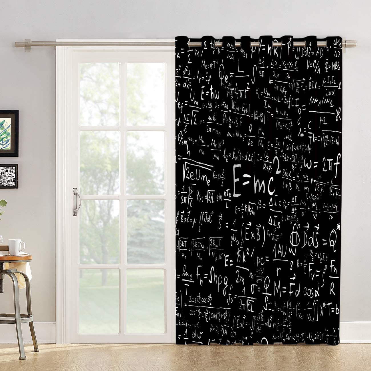 Futuregrace Blackout Curtains Mathematical Equation Black and White Livingroom Bedroom Darkening Window Draperies Curtains for Sliding Glass Door Home Office Decor 52 W by 96 L