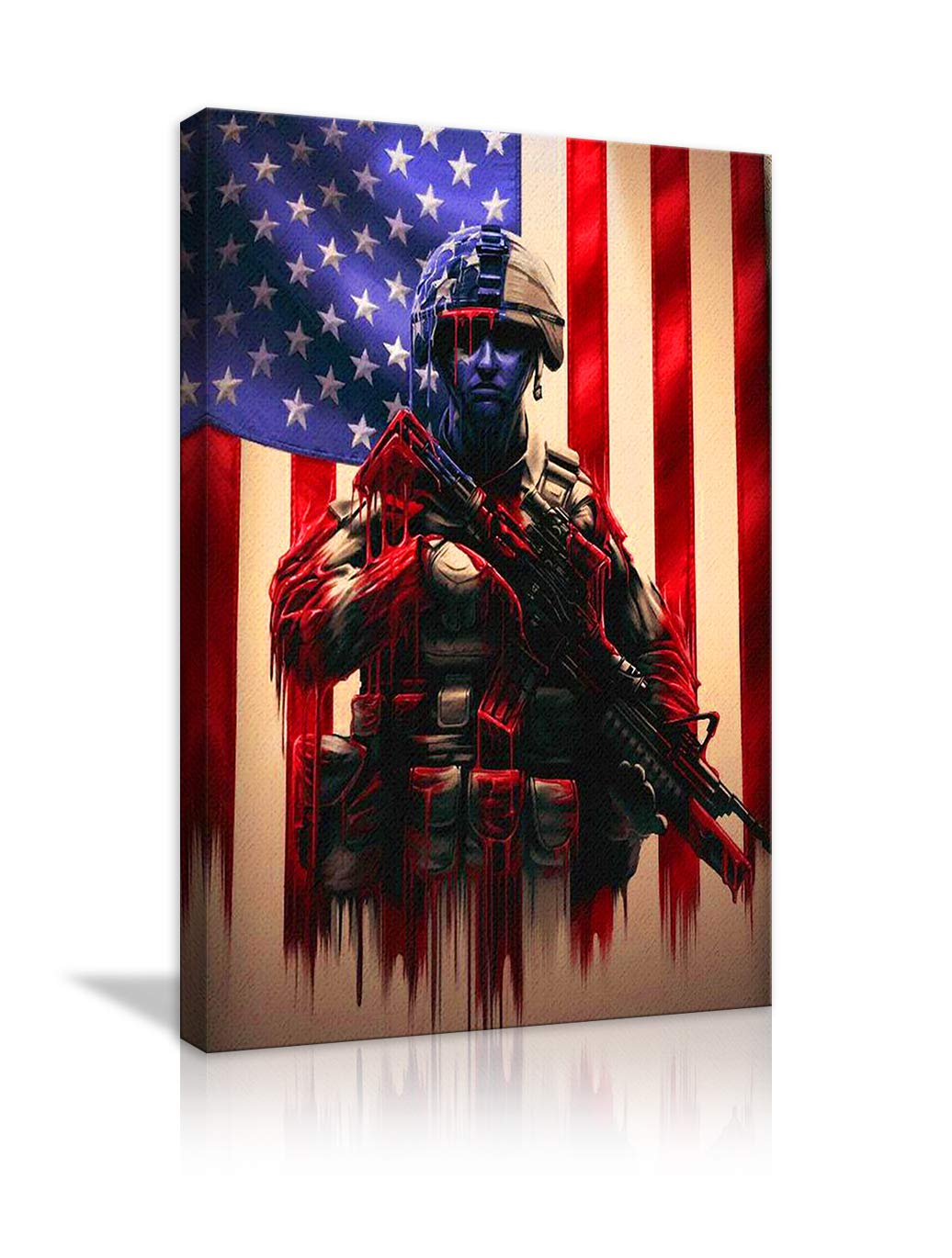 AMEMNY Vintage American Flag Canvas Wall Military Soldiers Army Pictures Modern Painting Red White Blue Stars Stripes Pictures for Living Room Bedroom Bathroom Office Decor Framed Ready to Hang