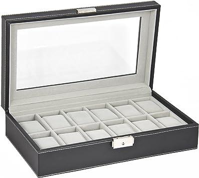 COZYSWAN ® 12 Compartimentos Honmbre Reloj Caja Coleccionista PU ...