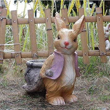 Figura Decorativa para jardín Simulación Conejo Maceta Resina Impermeable Jardín Estatua Para Patio Paisaje Césped Decoración Artesanías Regalo C:30 * 18 * 34.5cm: Amazon.es: Bricolaje y herramientas