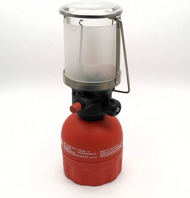 IGI Firefly - Linterna de gas profesional para camping (120 p, compatible con latas de gas perforables de 190 g)