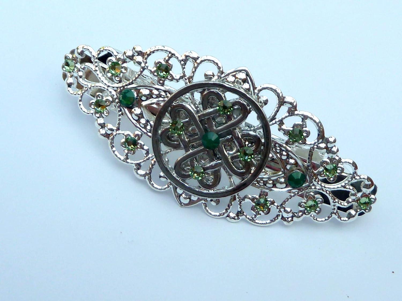 Barrette Irlande avec noeud celtique en argent vert