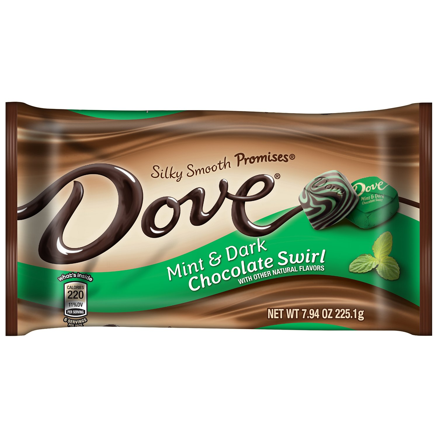 DOVE PROMISES Mint and Dark Chocolate Swirl Candy 7.94-Ounce Bag (Pack of 12)