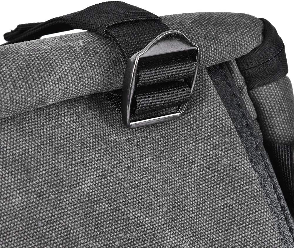Mugast Camera Backpack,Multi-Function Waterproof Canvas Shoulders Bag with Laptop Partitions,Rain Cover for 15Inch Laptop,Lens,Camera Accessories Charcoal Gray
