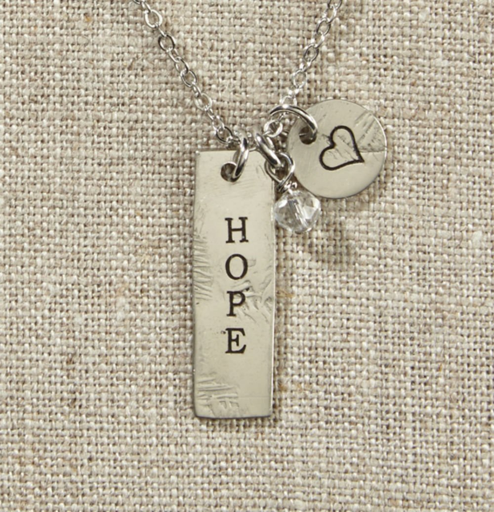 Set of 4 Grateful Heart- Silver Bar with Hope Necklace on Silver Chain by AT001