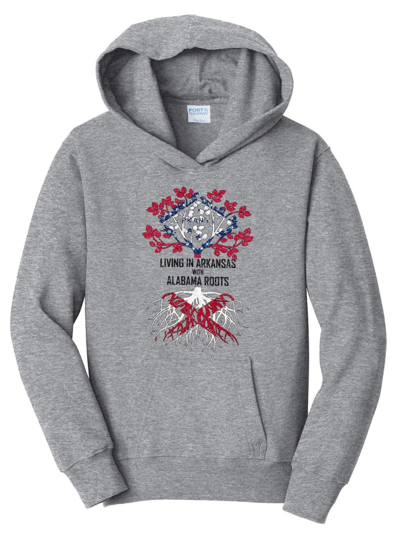 Tenacitee Girls Living in Arkansas with Alabama Roots Hooded Sweatshirt