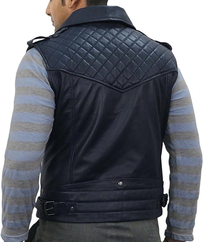 Black, Biker Waist Coat 1503096 Laverapelle Mens Genuine Lambskin Leather Waist