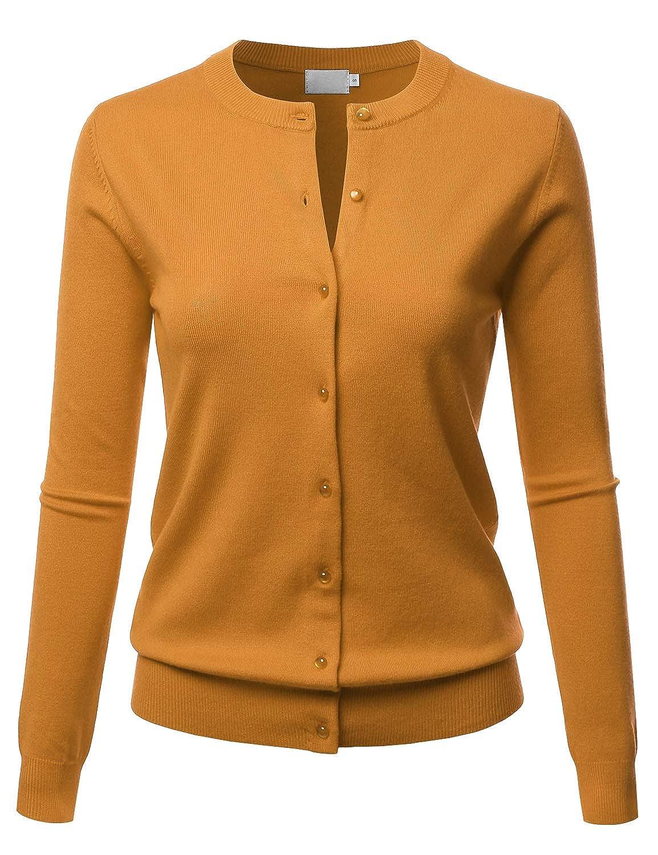 Lbt009mustard LALABEE Women's Crew Neck Gem Button Long Sleeve Soft Knit Cardigan Sweater
