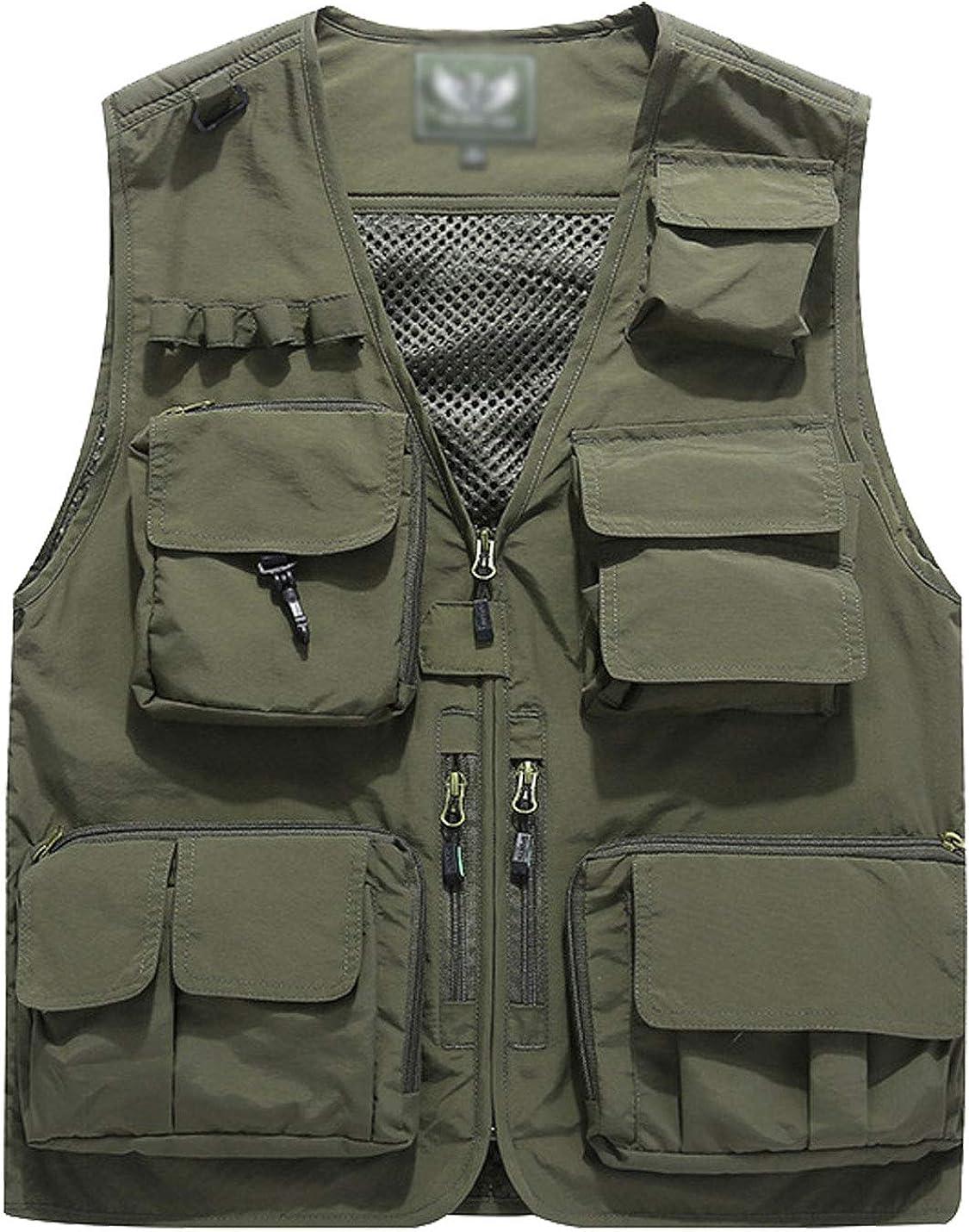 Men Multi Pocket Casual Fly Fishing Vest Summer Autumn Outdoor Travel Waistcoat