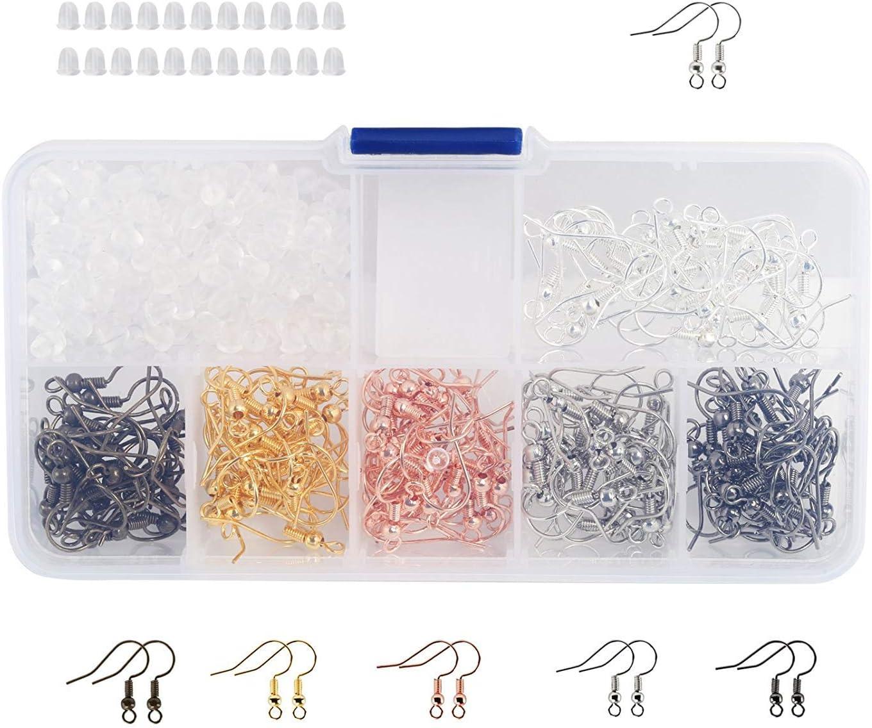 Naler - Ganchos para pendientes y alambre de pescado + 200 piezas de goma para pendientes con caja surtida para bricolaje, joyería y joyería, 180 piezas (6 colores)
