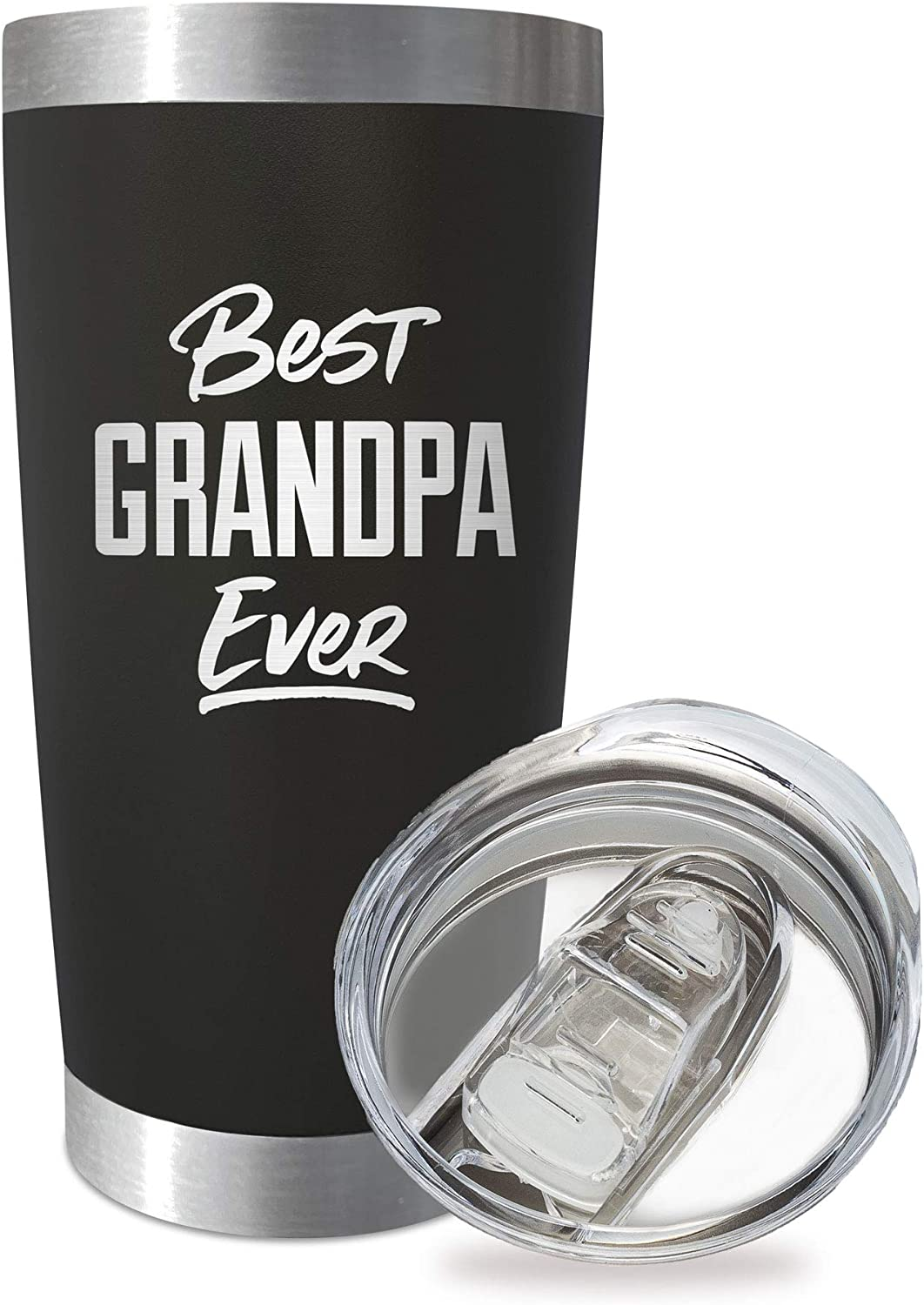 SassyCups Best Grandpa Ever | 20 Ounce Engraved Black Stainless Steel Insulated Travel Mug | Happy Birthday Cup for Grandpa | New Grandpa Tumbler | Grandpa Again | Grandad Tumbler | New Grandfather