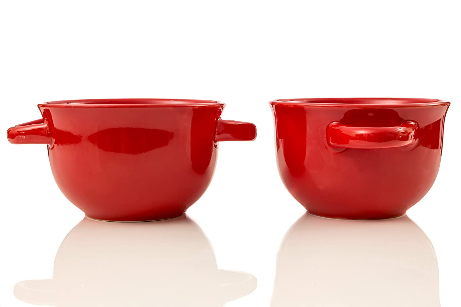 Crockpot 22-ounce Double Handle Soup Bowls, Set of 2 Red