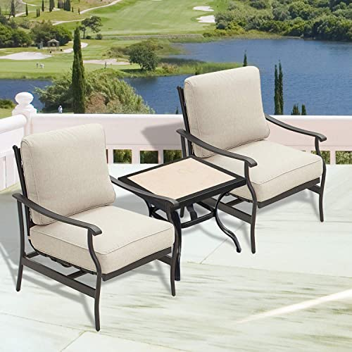 PatioFestival Outdoor Padded Conversation Set,Patio Furniture Sets Modern Bistro Cushioned Sofa Chair