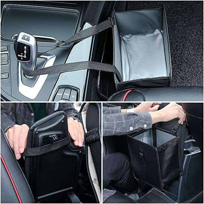 Aiooy Auto Car Rubbish Bin Trash Bag Hanging Garbage Can Water Resistant Organizer Leak Proof Foldable Litter Container for Vehicles