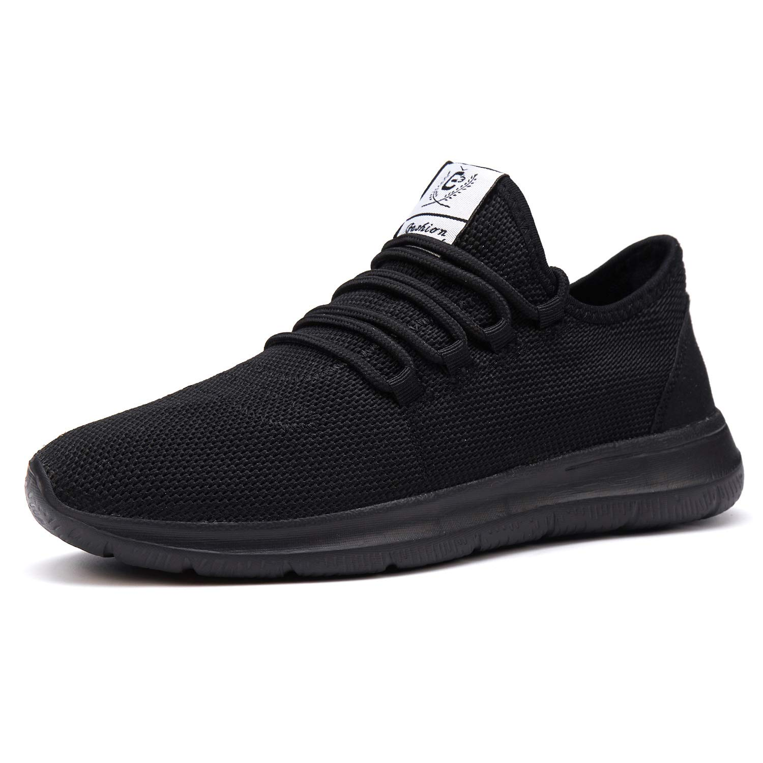XUNMU Men's Walking Shoes Mesh Casual Athletic Shoes Running Shoes Lightweight Breathable Fashion Sneakers All Black 45 by XUNMU