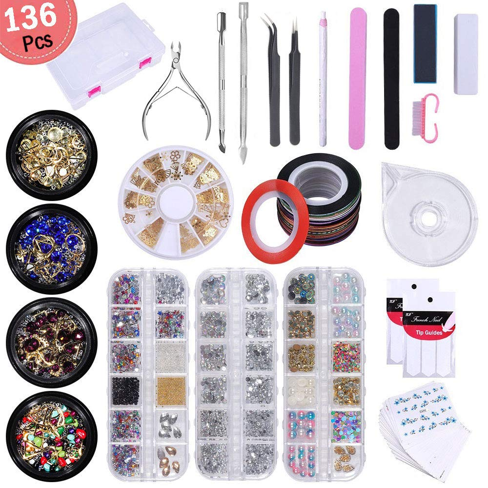 Nail Art Set - 136pcs Nail Art Tools Decoration Manicure Kit, Glitter Nail Rhinestones, Nail Sticker decals&French Tip Line Stickers, Striping Tape&Striping Roller Box, Nail Dotting Pen for Pedicure by IeBilif