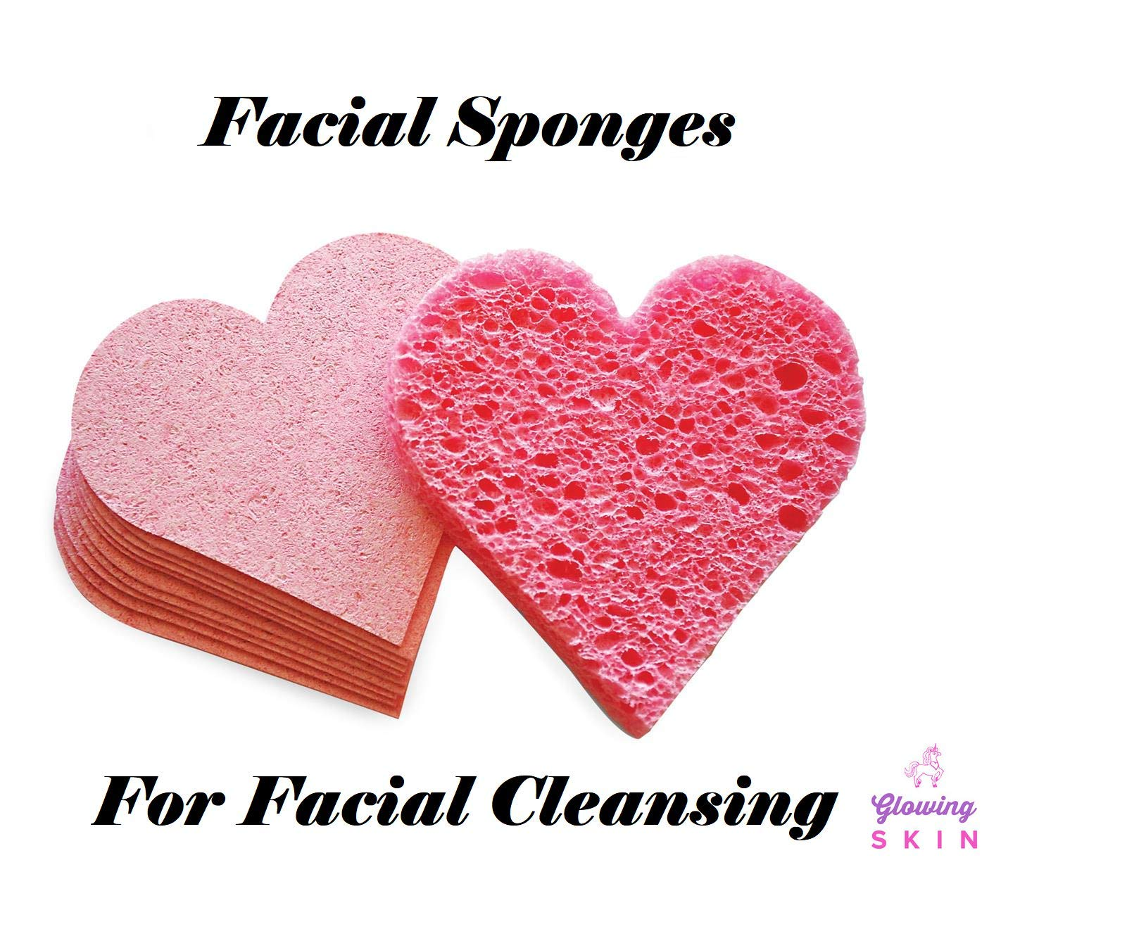 Compressed Facial Sponges Natural Cellulose Pink Heart Sponges (100 PACK)