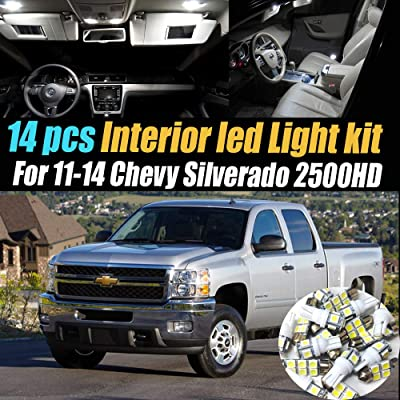 14Pcs White 6000K Interior LED Light Kit Pack Compatible for 2011-2014 Chevrolet Silverado 2500HD: Automotive
