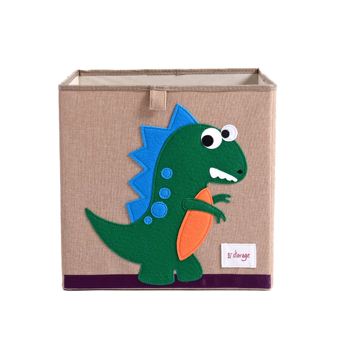 Wo Baby Foldable Canvas Fabric Toy Storage Box/Cube/Bin/Chest/Basket/Orginizer for Kids, Storage Bin for Shelves, 13inch (Cube, Dinosaur)