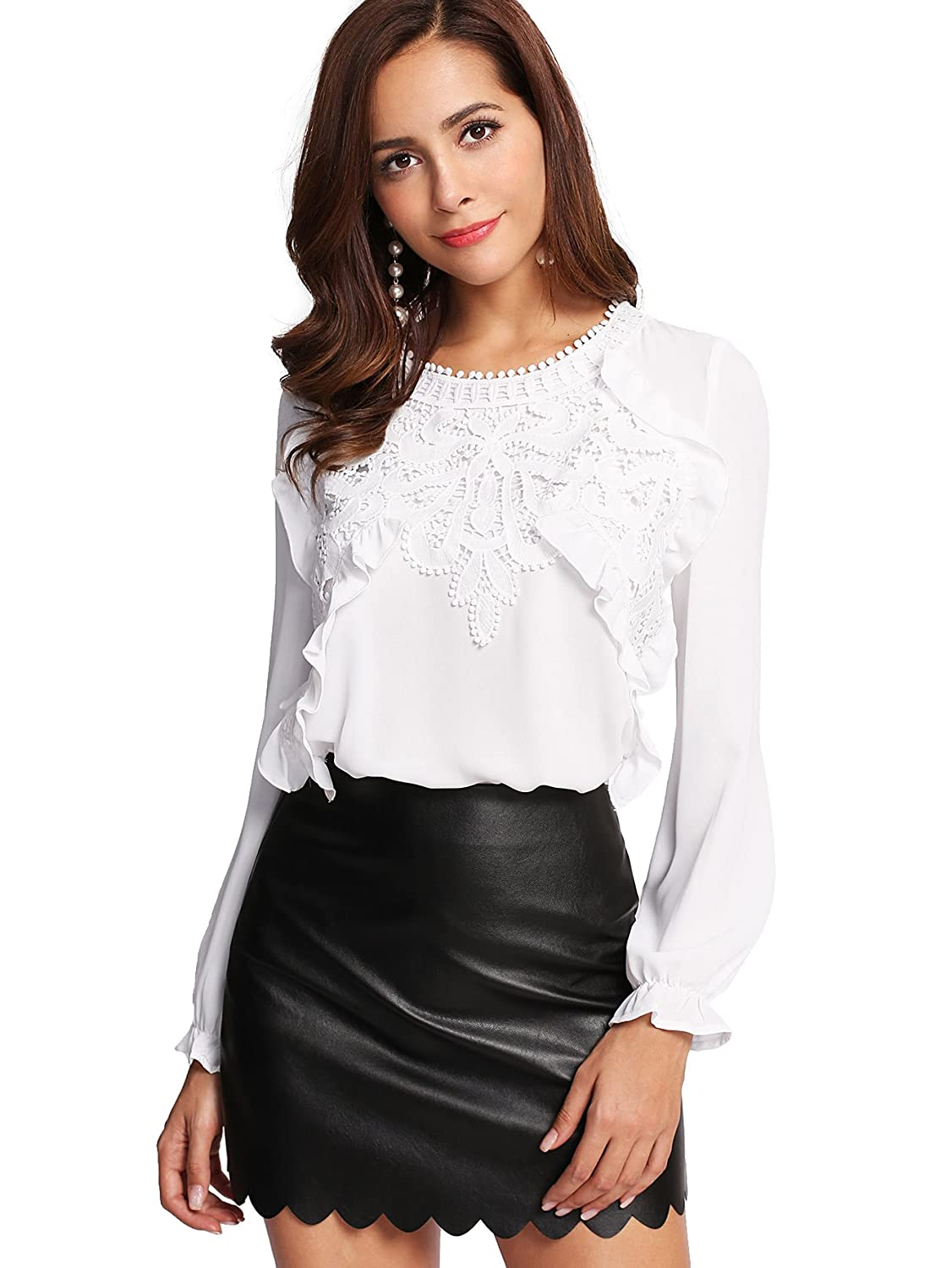 da81445d11335c Romwe Women s Elegant Long Sleeve Applique Keyhole Ruffle Blouse Tops at  Amazon Women s Clothing store