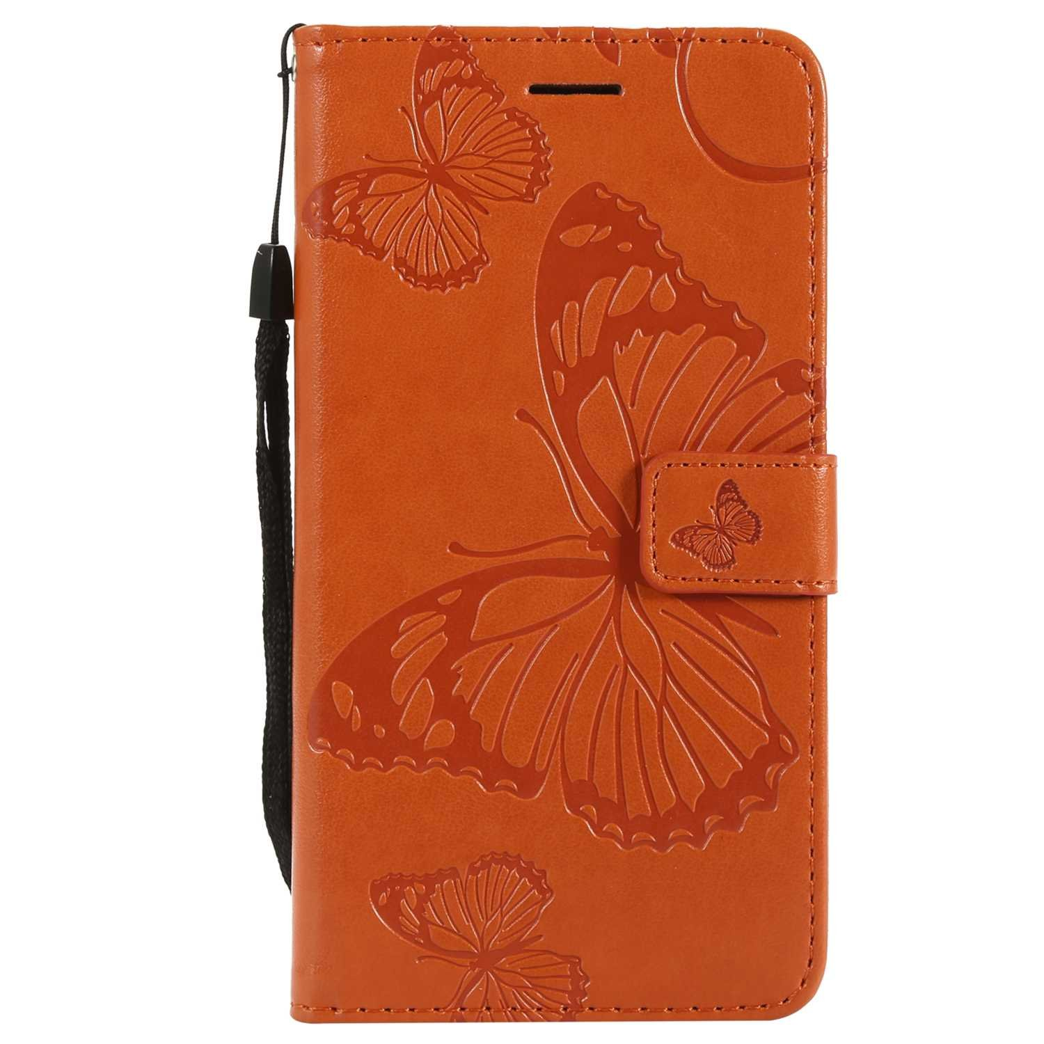 CUSKING Case for Samsung Galaxy J7 2016, Leather Flip Cover Magnetic Wallet Case with Butterfly Embossed Design, Case with Card Holders and Kickstand - Orange