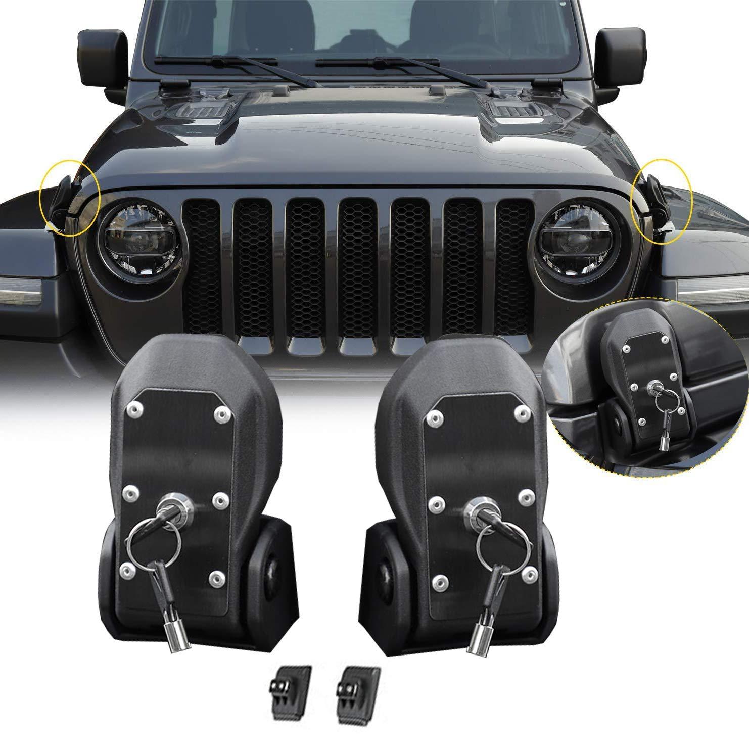 Modificaci/ón de la Tapa del Motor con Cerradura,Anti-Robo,Originalcar LAUTO Coche Cubierta Original del Acero Inoxidable de pestillo de la Cubierta Kit aplicable a 2018 Jeep Wrangler JL
