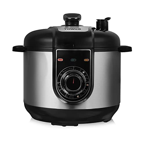 Tower Health T16004 Multi-Function Pressure Cooker, 5 Litre, Stainless Steel