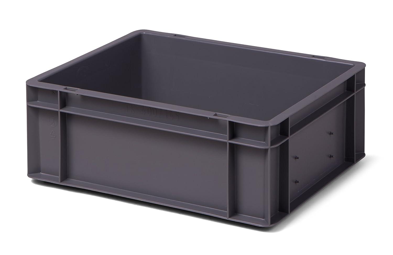Euro-Stapelkasten Hö he 145 mm, LxB =400x300 mm, Wä nde u. Boden geschlossen, 13 Liter, aus PP, Farbe grau 1a-TopStore