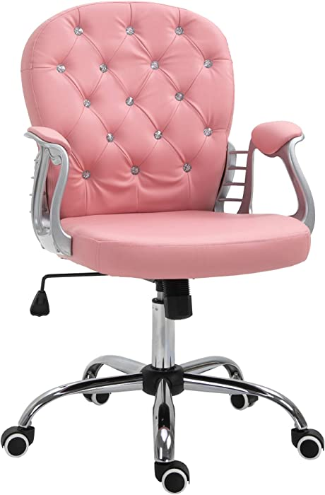 Vinsetto Vanity Middle Back Office Chair Tufted Backrest Swivel Rolling Wheels Task Chair with Height Adjustable Comfortable with Armrests, Pink