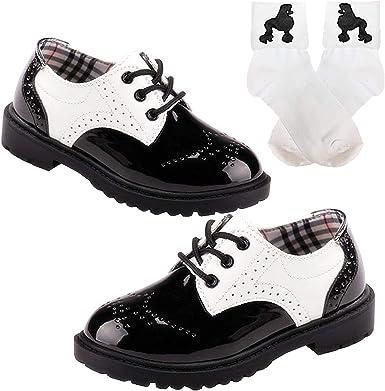 50s Girls Saddle Oxford Dress Shoes wBobby Poodle Sock