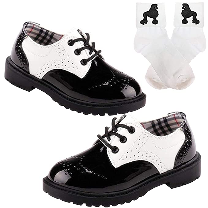 super cheap clearance bright n colour 50s Girls Saddle Oxford Dress Shoes w/Bobby Poodle Sock